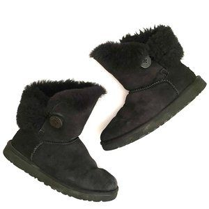 Ugg Black Suede Classic Bailey Button Boots 7